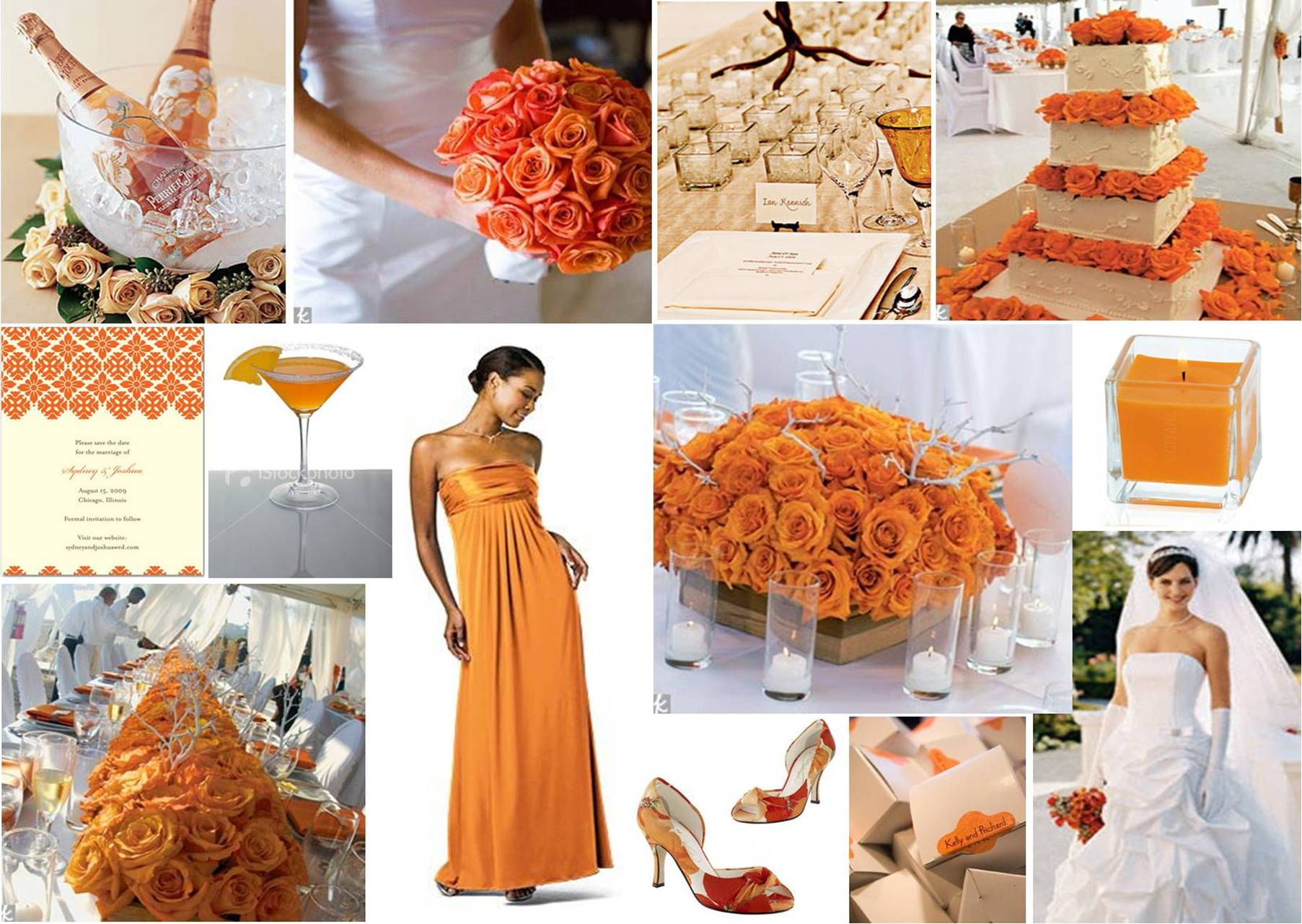 By the orange color theme and the bride's white dress is awesome