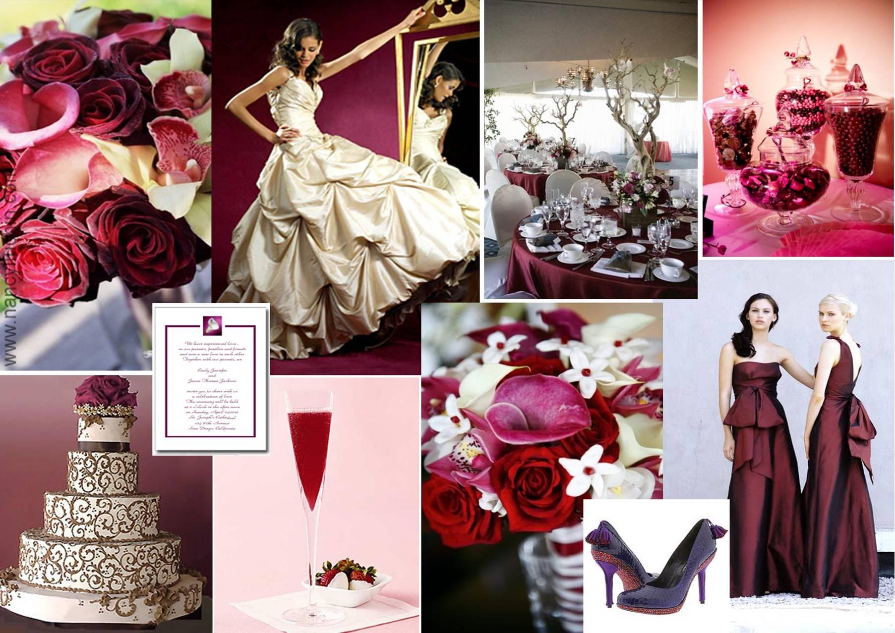 White And Burgundy Wedding Theme
